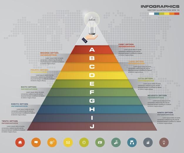 Piramide di 10 passi con spazio libero per il testo su ogni livello.