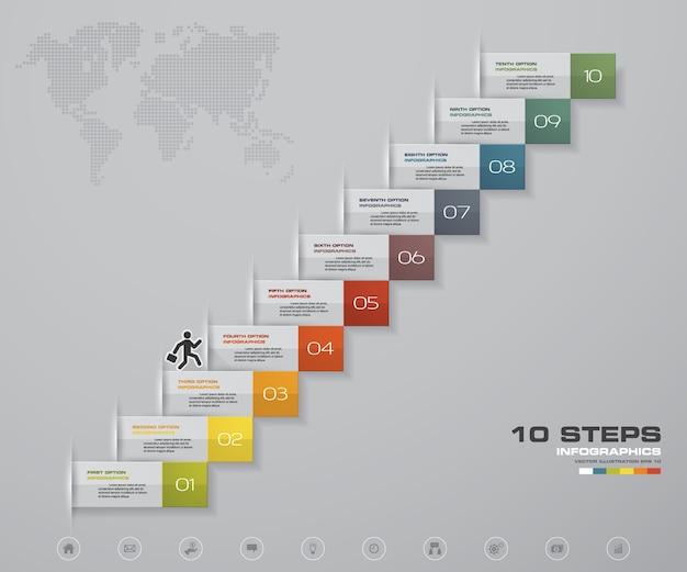 Scala di 10 gradini elemento infografico per presentazione.