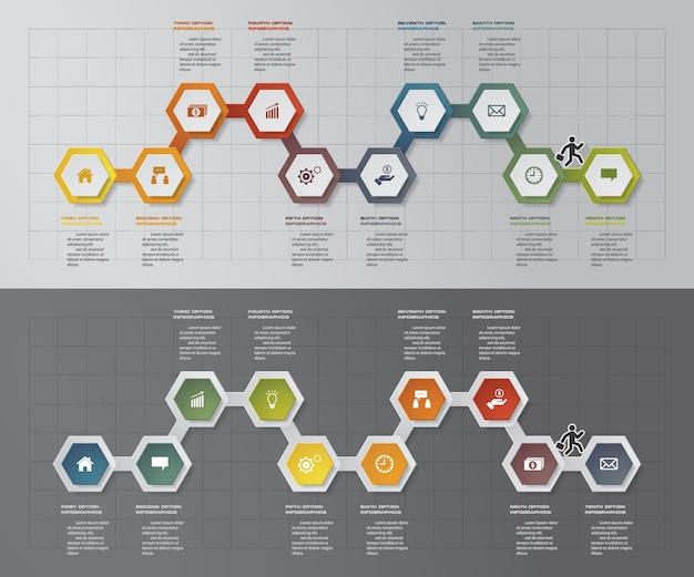 Elemento infografica timeline 10 passi.