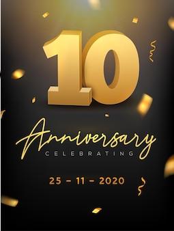 Evento di celebrazione di anniversario di 10 anni. golden vector compleanno o festa di matrimonio congratulazioni anniversario decimo.