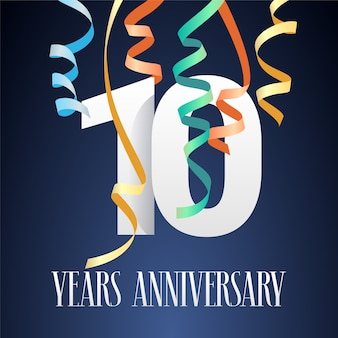 Celebrazione dell'anniversario di 10 anni. elemento di design del modello con ritaglio di carta moderno