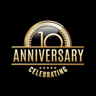 Illustrazione dell'emblema di 10 anni anniversario