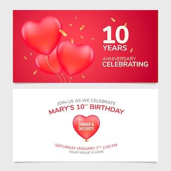Illustrazione dell'invito dell'anniversario di 10 anni. elemento modello di design con sfondo romantico per il decimo matrimonio, matrimonio o biglietto di compleanno, invito a una festa
