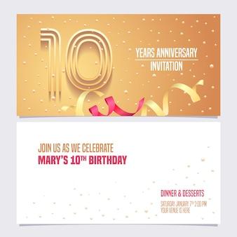 10 anni di anniversario invito illustrazione design