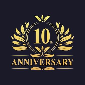 Logo dell'anniversario di 10 anni, lussuosa celebrazione del design del decimo anniversario.