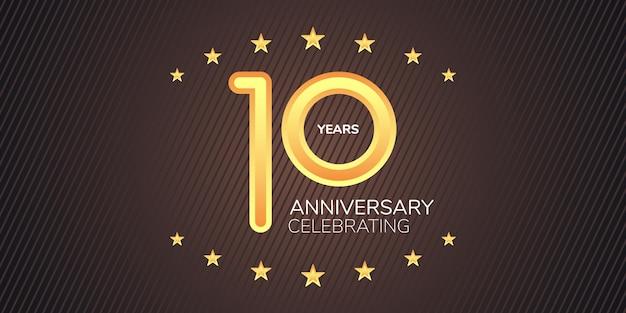 Icona di vettore di 10 anni anniversario, logo. elemento di design grafico con cifre al neon dorate per la carta del decimo anniversario