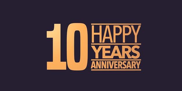 10 anni anniversario vettore icona simbolo logo sfondo grafico o carta per il decimo anniversario