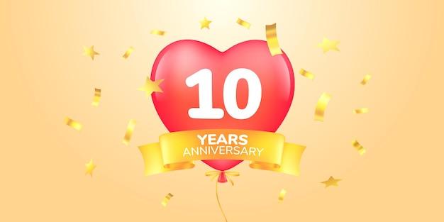 Icona del logo vettoriale dell'anniversario di 10 anni simbolo di banner modello con mongolfiera a forma di cuore per biglietto di auguri del decimo anniversario