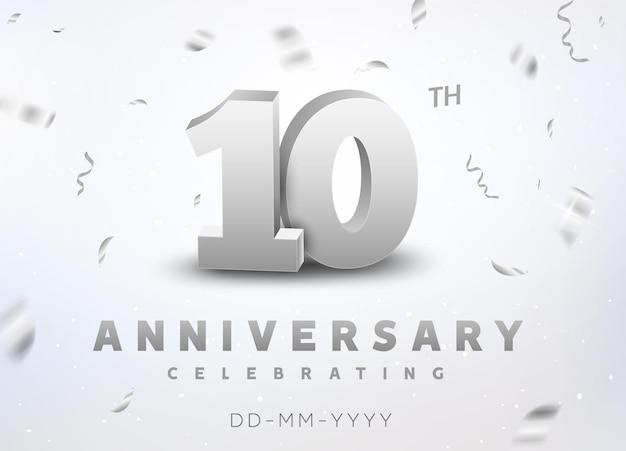 Evento di celebrazione dell'anniversario del numero d'argento di 10 anni. design per la cerimonia dello stendardo dell'anniversario per 10 anni.