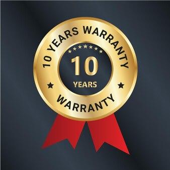 10 anni di garanzia logo distintivo di fiducia vettoriale