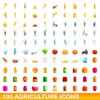100 icone di agricoltura impostate. un'illustrazione del fumetto di 100 icone di agricoltura messe isolate