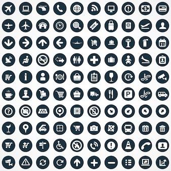100 icone aeroportuali grande set universale