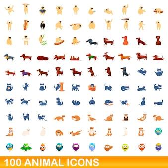 100 icone animali impostate. un'illustrazione del fumetto di 100 icone animali insieme vettoriale isolato su sfondo bianco