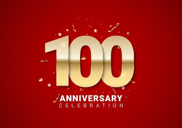 Sfondo di 100 anni con numeri d'oro, coriandoli, stelle su sfondo rosso brillante per le vacanze. illustrazione vettoriale eps10