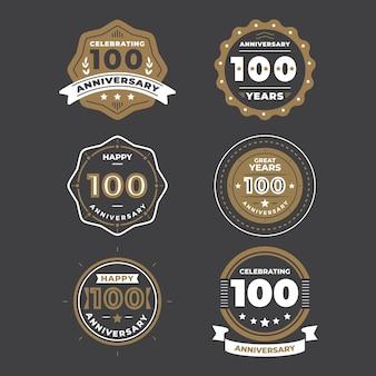 Collezione di etichette 100 anniversario