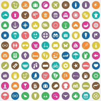 100 icone da spiaggia grande set universale