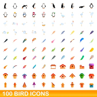 Set di 100 icone di uccelli. un'illustrazione del fumetto di 100 icone dell'uccello messe isolate su fondo bianco