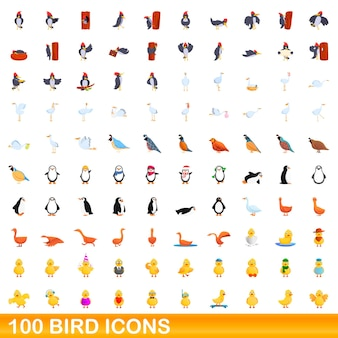100 icone di uccelli impostate. l'illustrazione del fumetto di 100 icone dell'uccello ha messo isolato