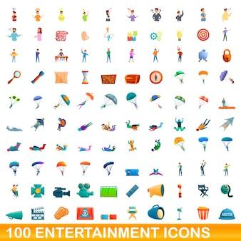 100 icone di intrattenimento impostate. un'illustrazione del fumetto di 100 icone di intrattenimento messe isolate