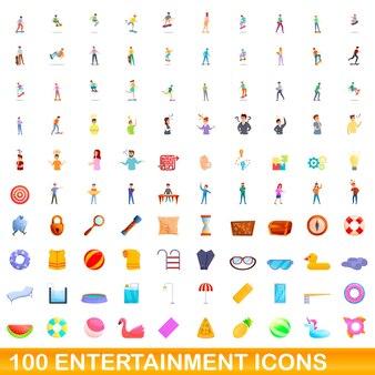 100 icone di intrattenimento impostate. cartoon illustrazione di 100 icone di intrattenimento insieme vettoriale isolato su sfondo bianco