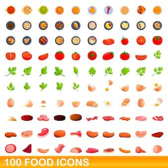 Set di 100 icone di cibo. cartoon illustrazione di 100 icone di cibo impostato isolato su sfondo bianco