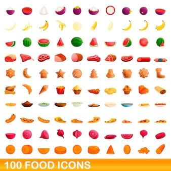 100 icone dell'alimento messe, stile del fumetto