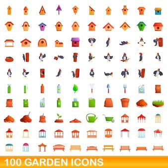 100 icone del giardino impostate. un'illustrazione del fumetto di 100 icone da giardino insieme vettoriale isolato su sfondo bianco