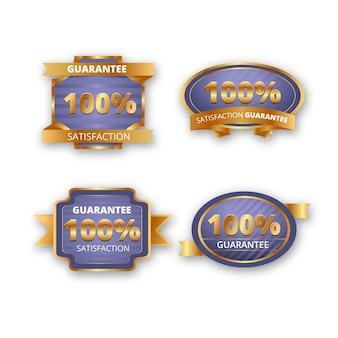 Collezione di etichette di garanzia al 100%