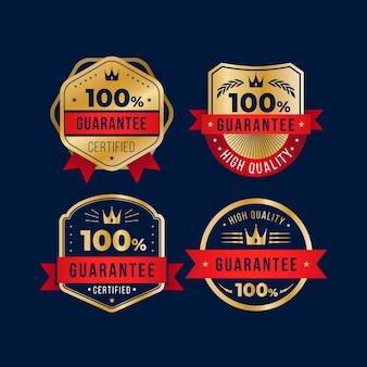 Collezione di etichette di garanzia al 100% Vettore Premium