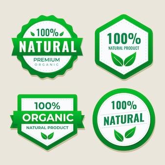 Collezione di etichette naturali al 100%