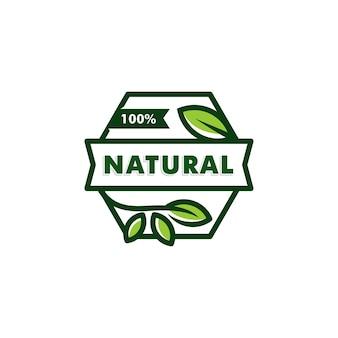 Modello di logo 100% naturale. logotipo di vettore di simbolo dell'icona della foglia