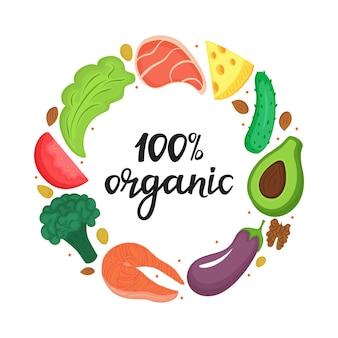 100 organici - scritte disegnate a mano. cornice rotonda di verdure naturali, noci e altri cibi sani. nutrizione cheto. dieta chetogenica