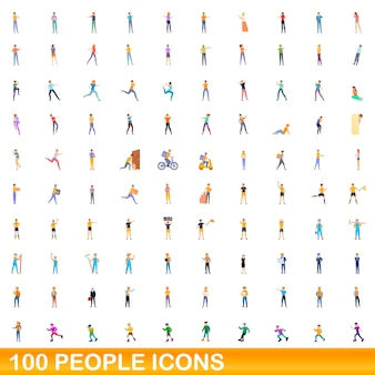 100 persone set di icone. cartoon illustrazione di 100 persone icone vettore set isolato su sfondo bianco