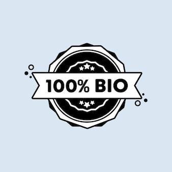 Timbro biologico al 100%. vettore. icona del distintivo bio al 100%. logo distintivo certificato. modello di timbro. etichetta, adesivo, icone. vettore env 10. isolato su priorità bassa bianca.