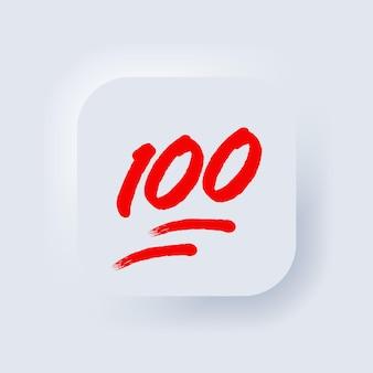 Emoji al 100%. segno del cento per cento. pulsante web dell'interfaccia utente bianco neumorphic ui ux. neumorfismo. vettore eps 10.