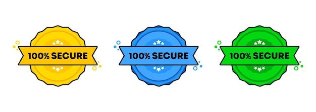 Set di timbri sicuri al 100%. . icona del badge sicuro al 100%. logo distintivo certificato.