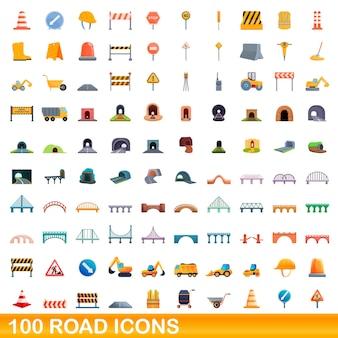 100 icone stradali impostate. l'illustrazione del fumetto di 100 icone della strada ha messo isolato