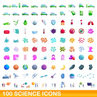 Set di 100 icone di scienza. cartoon illustrazione di 100 scienza set di icone isolati su sfondo bianco