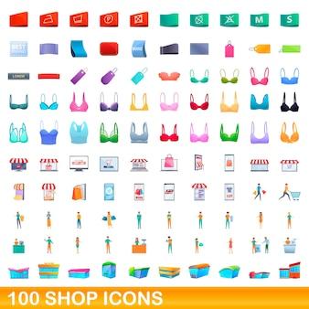 Set di 100 icone del negozio. un'illustrazione del fumetto di 100 icone del negozio messe isolate su fondo bianco