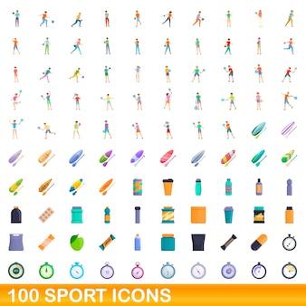100 icone sportive impostate. un'illustrazione del fumetto di 100 icone di sport insieme vettoriale isolato su sfondo bianco