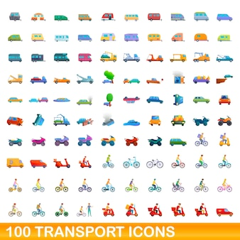 100 icone di trasporto impostate. un'illustrazione del fumetto di 100 icone di trasporto insieme vettoriale isolato su sfondo bianco