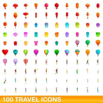 100 icone di viaggio impostate. cartoon illustrazione di 100 icone di viaggio insieme vettoriale isolato su sfondo bianco