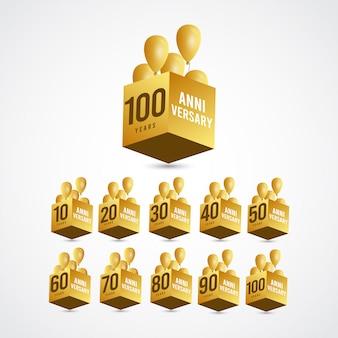 Etichetta logo template design illustration dell'oro 3 di celebrazione di anniversario di 100 anni