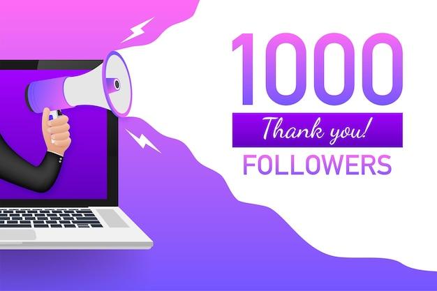 Biglietto di ringraziamento di 1000 follower con laptop modello per post sui social media. banner vivido di abbonati 1k. illustrazione vettoriale
