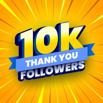 Banner di 10000 seguaci con nastro blu