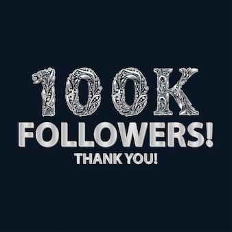 Banner di 100.000 follower o iscritti