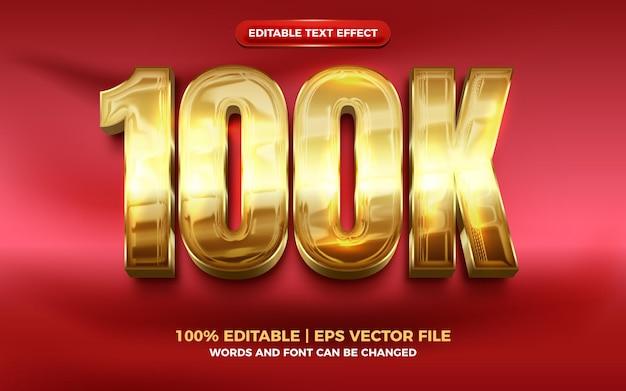Effetto di testo modificabile 3d moderno in oro di lusso 100k