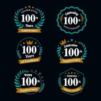 Collezione di badge per il 100 ° anniversario