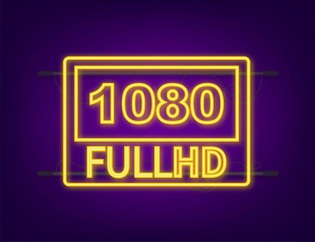 Segno di impostazioni video full hd 1080. icona al neon. illustrazione di riserva di vettore.