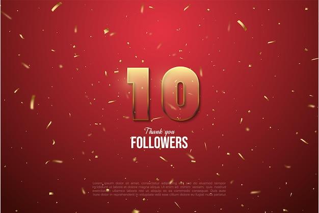 Sfondo di follower 10k con figura a strisce marrone dorato con bordi